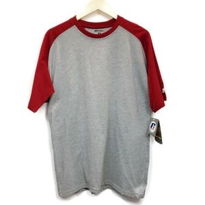 Russell Athletic Mens M T Shirt Gray Red Cotton